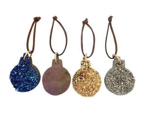 Titanium Druzy Sphere Christmas Ornaments - Home Decorations for Holidays - Christmas Tree Ornaments