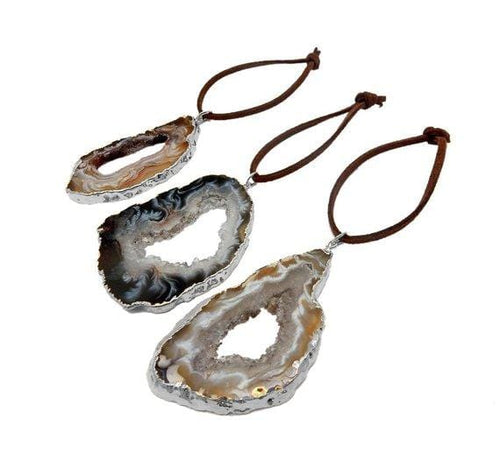 Freeform Silver Trim Agate Christmas Ornaments - Home Decorations for Holidays - Christmas Tree Ornaments