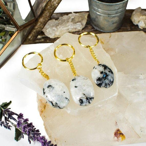 Rainbow Moonstone Keychain with Gold Tone Chain (RK137B9)