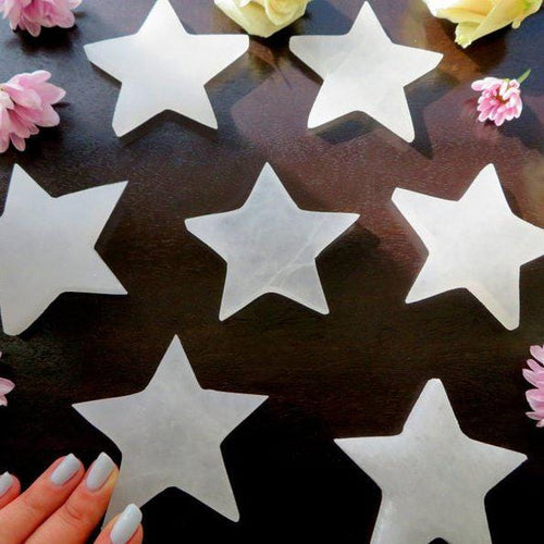 Selenite Stars - White Flat Stone Star - YOU CHOOSE SIZE
