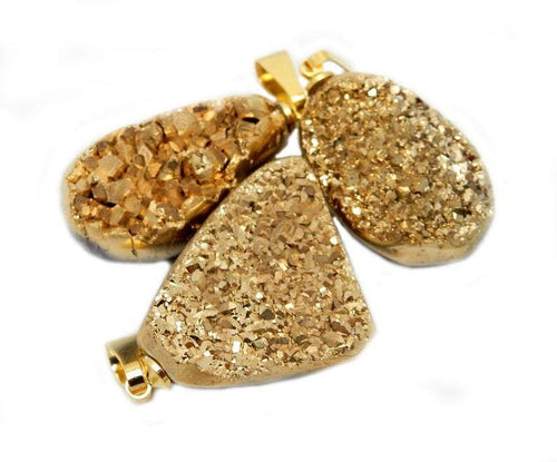 Titanium Treated Gold Color Druzy Cabochon with Gold Plated Bail (RK46B11-08)