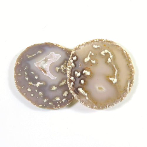 Natural Druzy Agate Slices - 2 pc set- ONE OF A Kind -(RK179B10-09)