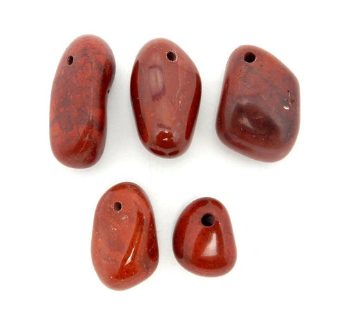 Jasper - Drilled Tumble Stones Jasper Beads-- Tumbled Red JasperBeads - Tumbled Stone Drilled - Side Drilled