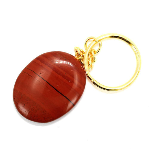 Jasper - Red Jasper Worry Stone Keychain - Gold Tone Keychain - Natural Red Jasper Stone Keychain - Thumb Stone - Palm Stone - Metaphysical