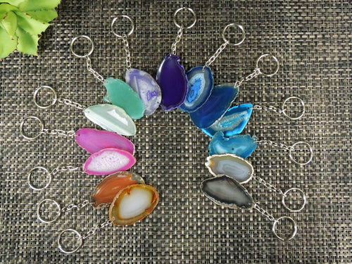 Key-Chains - Agate Key Chain- Dyed Agate Keychains - Choose Your Color And Quantity - Beautiful Slices!