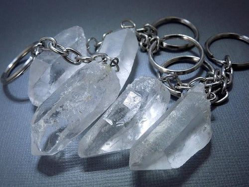 Key-Chains - Crystal Quartz Keychain  - Crystal Key Chains