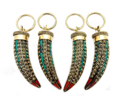 Key-Chains - Keychain Horn Brass Turquoise And Red Coral Mosaic - (RK60B13)