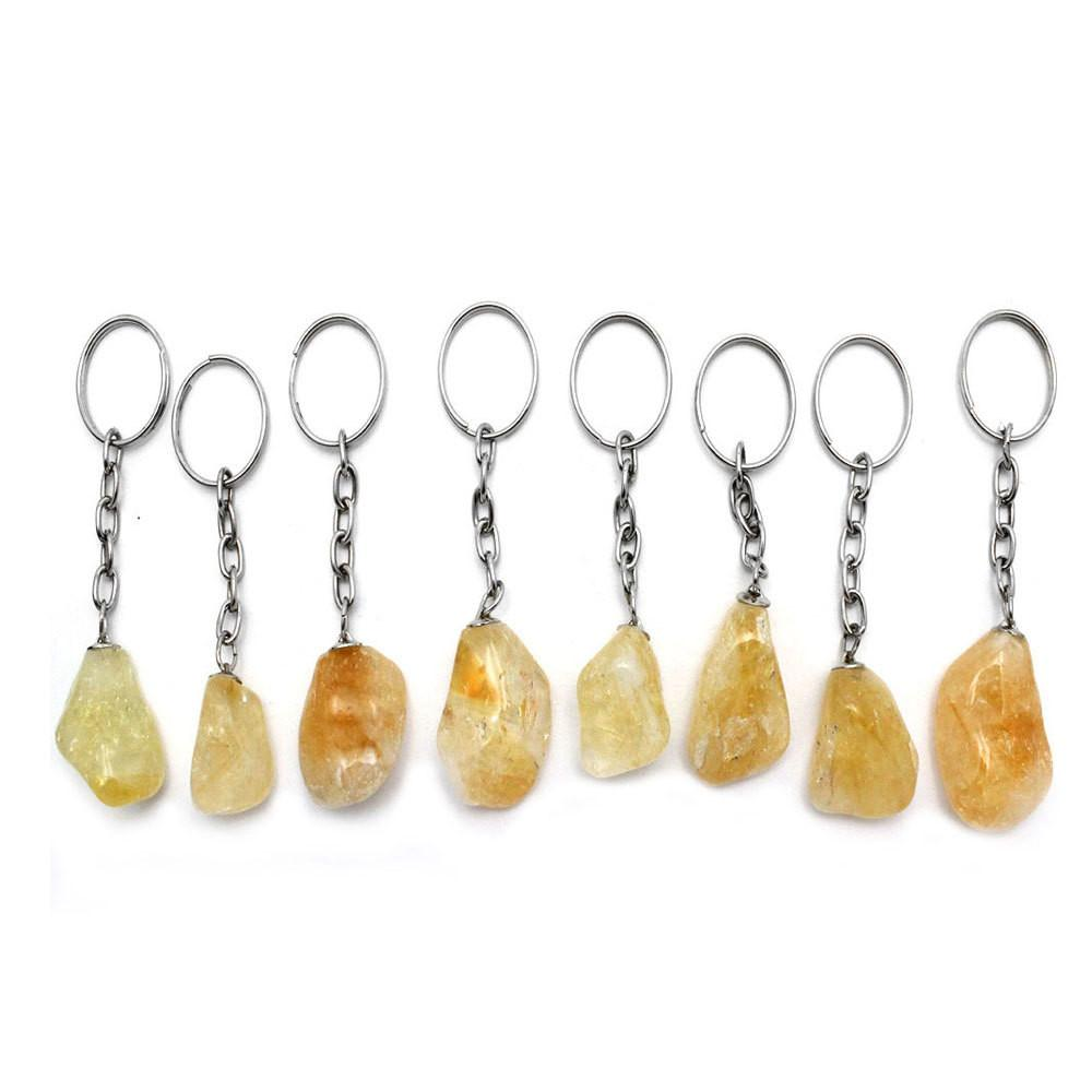 Keychain - Tumbled Citrine Silver Toned Key Chain - Natural Crystal Citrine Stone Keychain RK45B5b-02