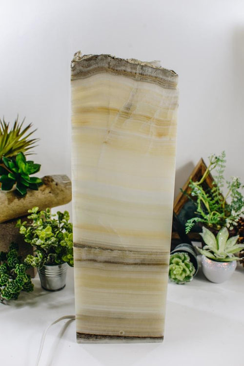 Mexican Onyx Tall Squared Lamp (LAMP12)