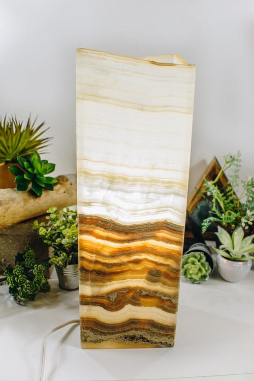 Mexican Onyx Tall Squared Lamp (LAMP13)