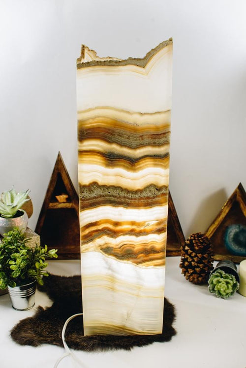 Mexican Onyx Tall Squared Lamp (LAMP08)
