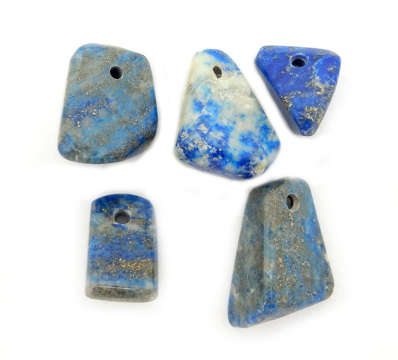 Lapis Lazuli - Lapis Lazuli Beads-- Tumbled Lapis Lazuli Beads - Tumbled Stone Drilled - Side Drilled Bead
