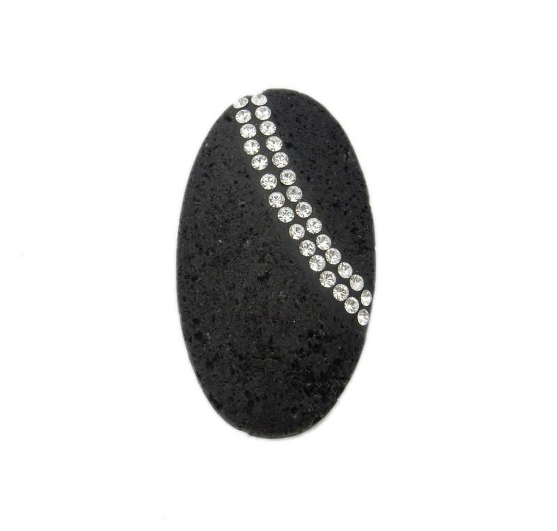 Lava - Oval Lava Rock Bead With CZ Rhinestone Accent Band  - Limited!! (RK3B18-03)
