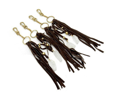 "Leather Keychain Bohemian Brown Leather 10"" Keychain With Crystal Quartz Point - (RK69B6)"