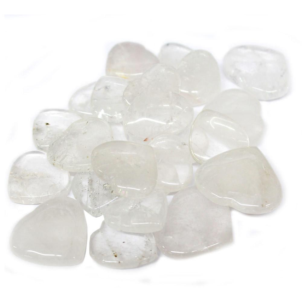 Metaphysical - 1 (ONE) Crystal Quartz Heart Shaped Stone - Chakra - Metaphysical - Reiki  (RK20B7-01)