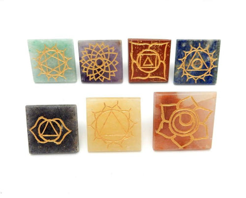 Metaphysical - Pyramid Chakra Set -- Engraved Pyramid Shaped Chakra Stone - Reiki - Metaphysical - Crafting Includes Pouch