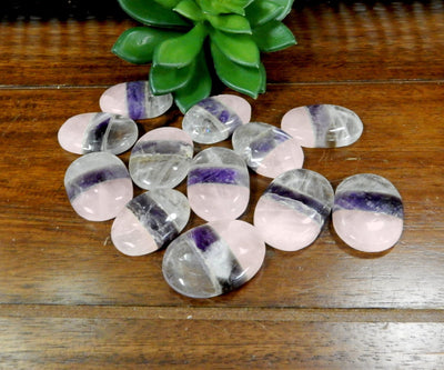 Metaphysical - Rose Quartz Amethyst Crystal Quartz Worry Stone Slab - Thumb Stone - Palm Stone - Chakra - Crystal Therapy - Metaphysical (RK179B8)