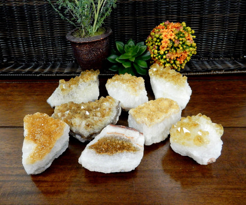 Minerals - Citrine Cluster - 1/2 To 1 LB Clusters - Chakra Crystals - Gift - Home Decor (HCB-01)
