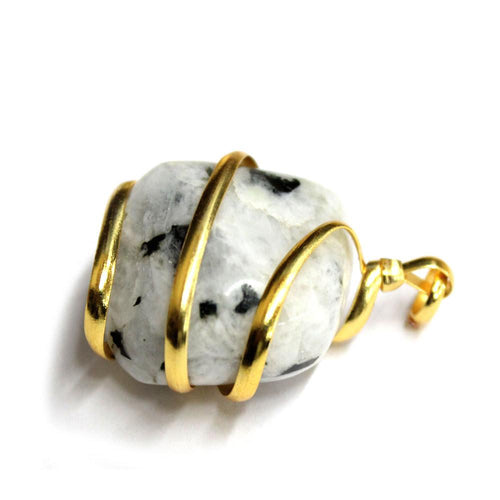 Moonstone Gold Tone Spiral Tumbled Moonstone Pendant - Gold Tone Spiral Wrapped Tumbled Moonstone Pendant - RK67B13