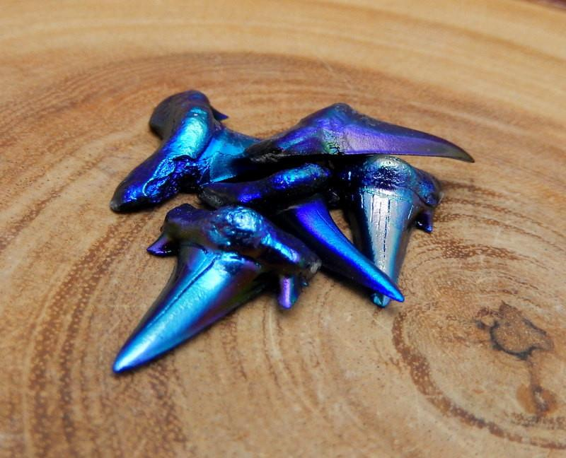Mystic Blue Titanium Shark Tooth - Real Shark Tooth (RK13B4) HOT Great For Wire Wrapping Jewelry Making