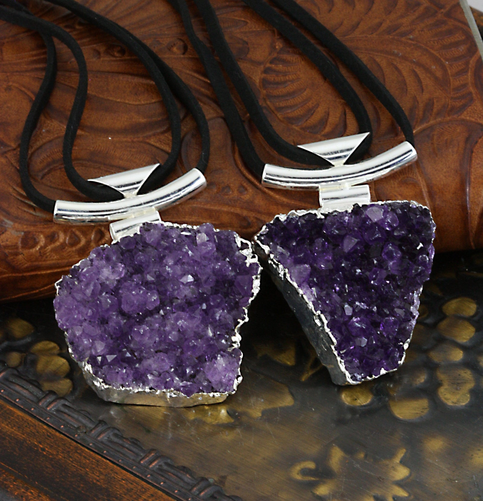 Necklace - Amethyst Quartz Cluster Necklace With Black Leather Cord In Silver Or 24k Gold Electroplated - (RK194) (RK191)