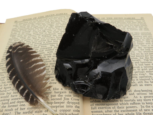 Obsidian - Obsidian Chunk - Natural Raw Obsidian Stone - Natural Black Rock - (RK405-02)