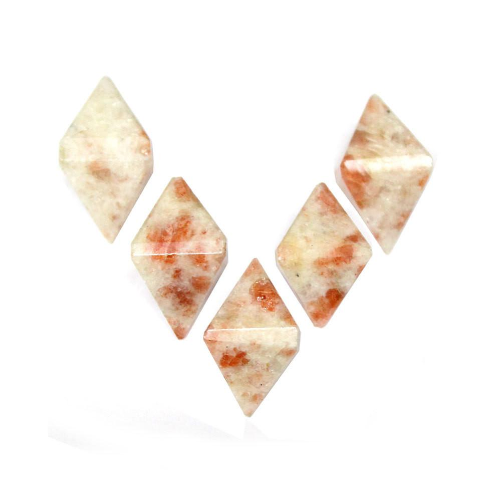 ONE (1) Sunstone Diamond Shaped Stone Point - Diamond Shaped Sunstone Perfect For Wire Wrapping - RK50B18b-07