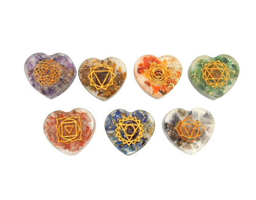 Orgone - Orgone Heart Chakra Stones -- Thick Heart Shaped Hearts - Chakra Heart Set - Metaphysical - Meditation - Intention - Wire (BR-12)