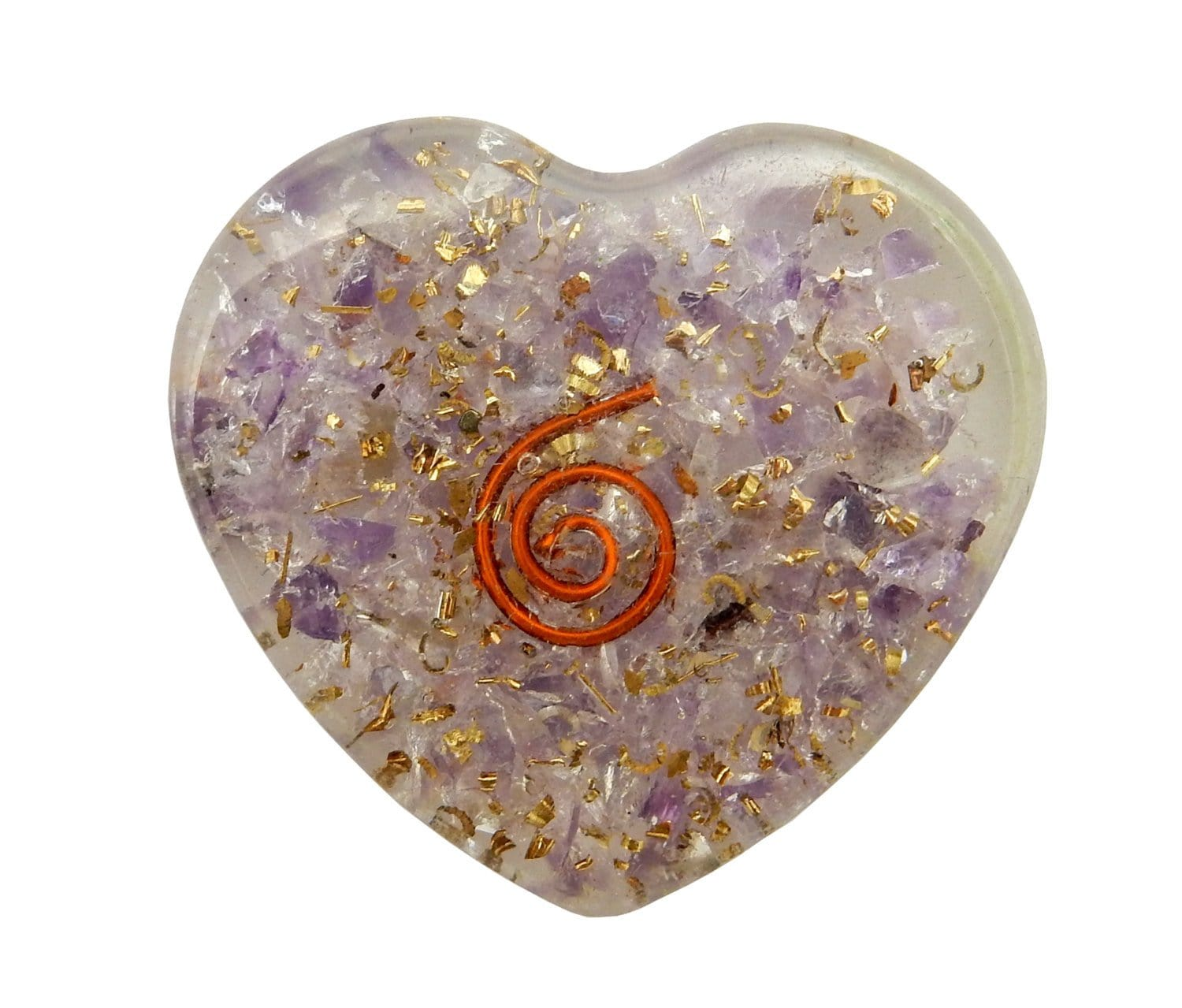 Orgone - Orgone Hearts Amethyst Rose Quartz Crystal - Set Of 3 Orgone Heart Piece - Boho Style - Resin Heart With Pieces Of Stones (RK145B3)