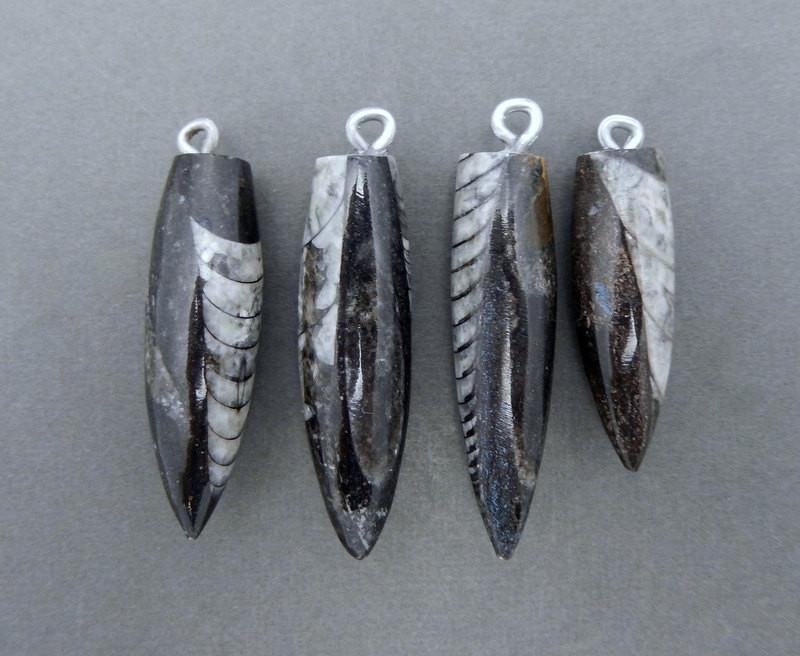 Orthoceras Point Fossil Spike Pendant With Silver Plated Bail (RK4B11-03)
