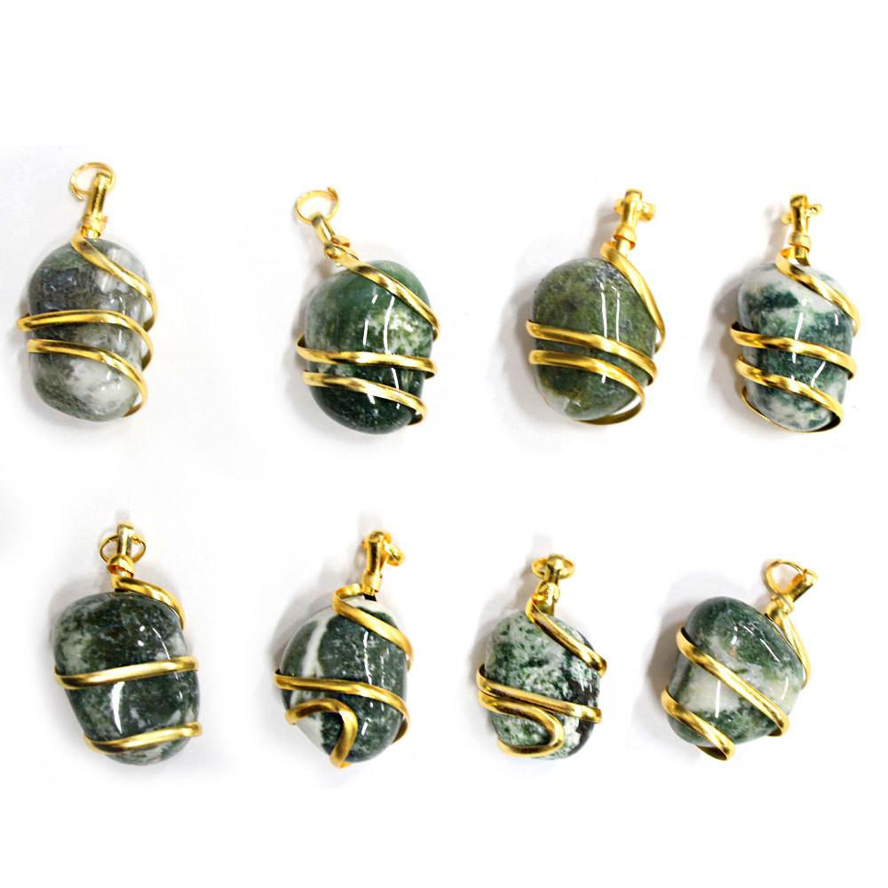 Pendant - Gold Tone Spiral Tumbled Moss Agate Pendant - Gold Tone Spiral Wrapped Tumbled  Moss Agate Pendant - RK67B12