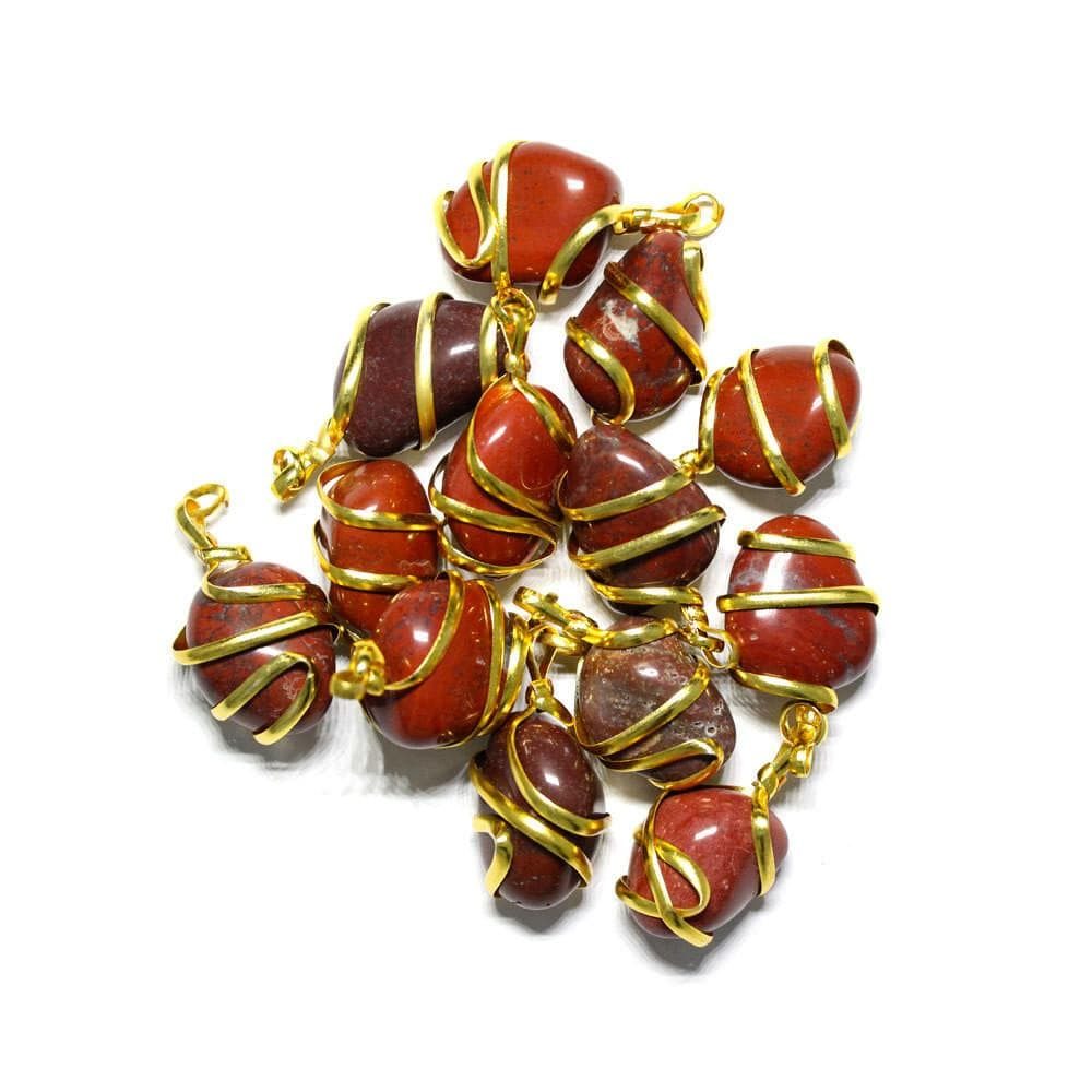 Pendant - Gold Tone Spiral Tumbled Red Jasper Pendant - Gold Tone Spiral Wrapped Tumbled Red Jasper Pendant - RK67B3
