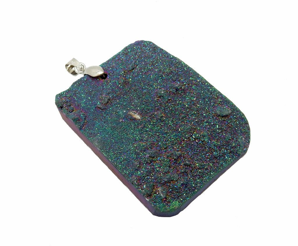Pendants - Blue Colored Druzy Titanium Treated Cabochon With Silver Plated Bail - (RK56B9)