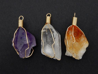 Pendants - Crystal Quartz, Citrine, Or Amethyst Point Wire Wrapped Gold Tone Pendant (RK19B3)