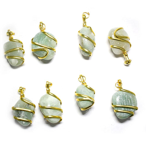 Pendants - Gold Tone Spiral Tumbled Green Aventurine Pendant - Gold Tone Spiral Wrapped Tumbled Green Aventurine Pendant - RK67B1