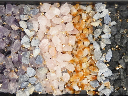 Pendants - Rough Stone Pendants - Rose Quartz, Citrine, Amethyst, Sodalite, Tourmaline, Rutilated Quartz - You Choose - Gold Or Silver Bail