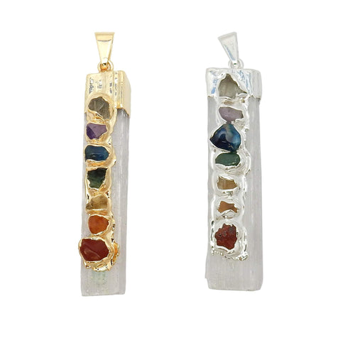 Pendants - Selenite Freeform Pendant With 7 Chakra Stone Accents - 24K Gold Electroplated Cap And Bail