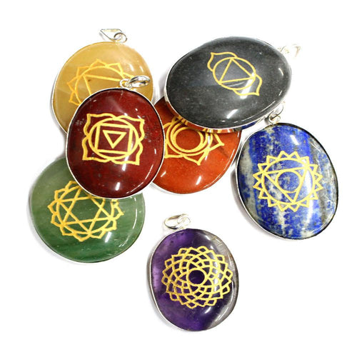 Pendants - Seven  Chakra Stone Pendants With Silver Tone Bail - Seven Gemstone Pendants - Include Free Pouch BR-07