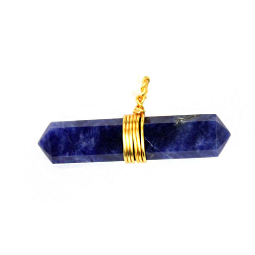 Pendants - Sodalite  Pendant- Double Terminated Wire Wrapped Pendant - Gold Tone - Chakra - Healing - Reiki - Metaphysical - RK50B15b-02