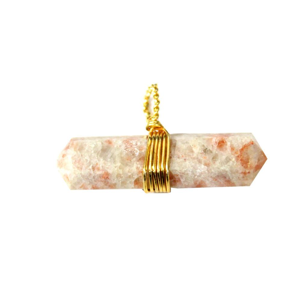 Pendants - Sunstone Pendant- Double Terminated Wire Wrapped Pendant - Gold Tone - Chakra - Healing - Reiki - Metaphysical - RK50B15b-01
