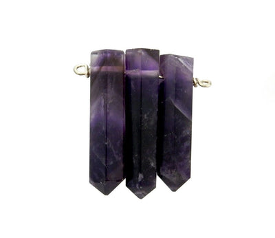 Pendants - Triple Amethyst Pencil Point Pendant With Silver Plated Wire Bails - (RK103B11-04)