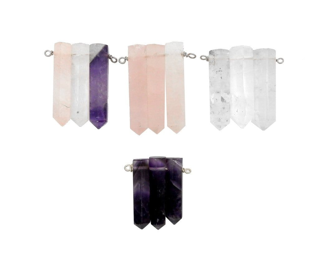 Pendants - Triple Crystal Quartz Pencil Point Pendant With Silver Plated Wire Bails - (RK103B11-03)