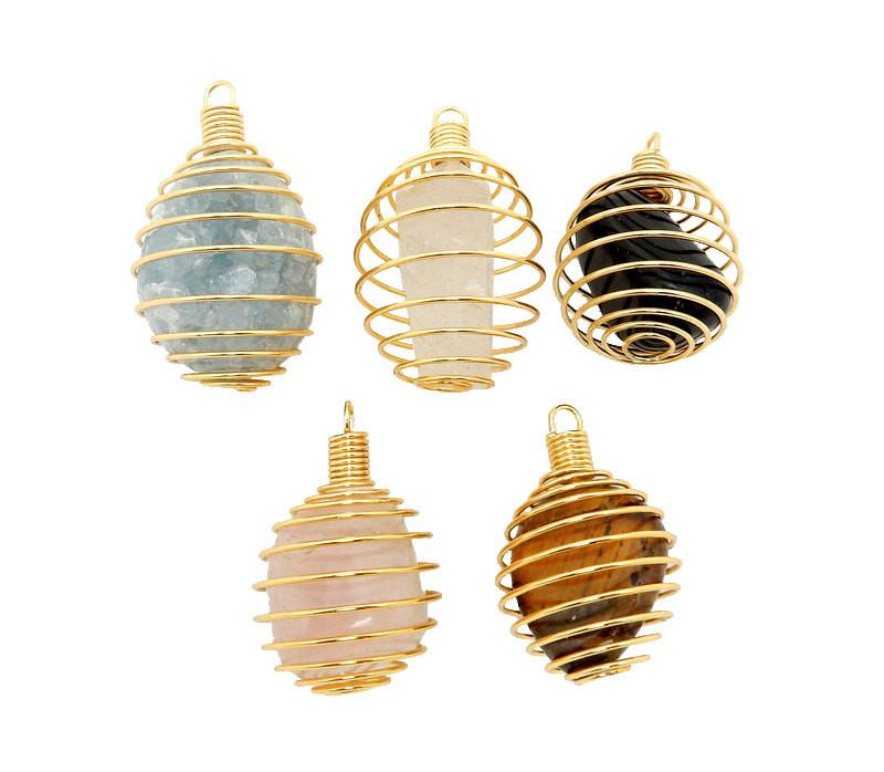 Pendants - Tumbled Stone - Wire Cage - Cage Only - Gold Toned Wire Tumbled Stone Cage (RK85B10)