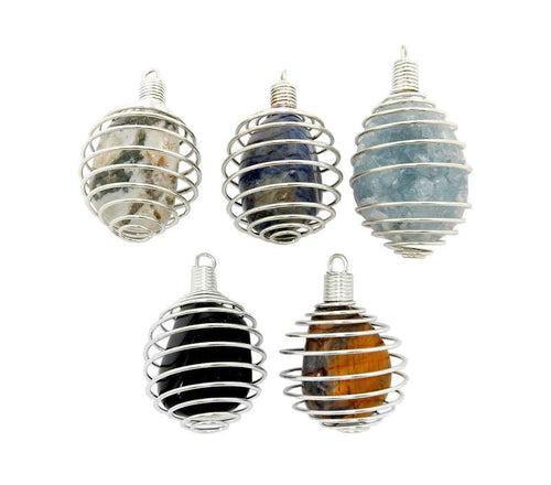 Pendants - Wire Cage Tumble Stone Holder - Cage Only - Silver Toned Wire Tumbled Stone Cage (RK85B11-01)