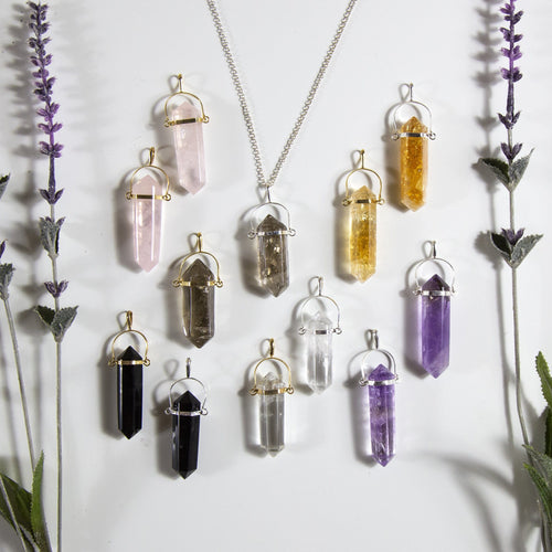 Pencil Point Pendants - Double Terminated - Various Stones to Choose From (S129B6)