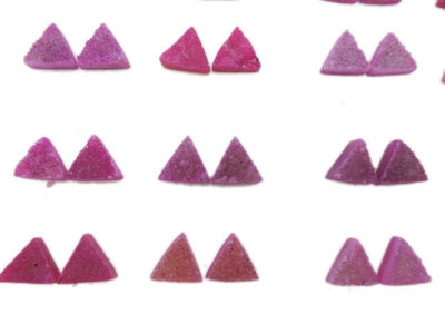Pink Triangle Druzy Pair - Beautiful 10mm Triangle Shaped Druzy - Jewlery Supplies -  Druzy Stones - (RK93B18-18)
