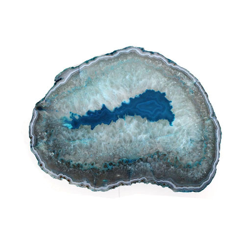 Platters - Agate Platter Teal  - Small Size - 17 To 23 Cm - Thick Agate Slab - Table Setting - Home Decor & Spiritual Gift (RK91-01)