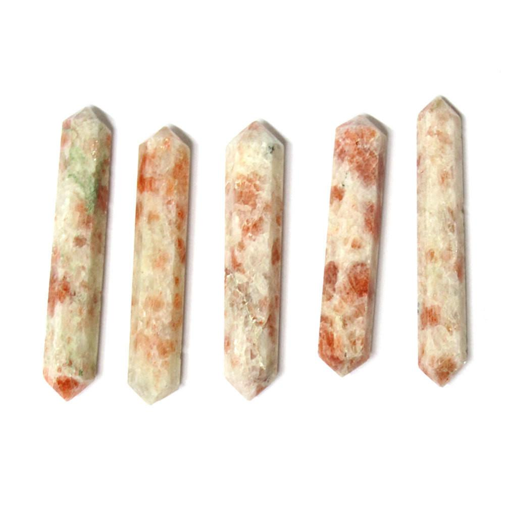 Points - Sunstone Double Double Terminated Pencil Point - Flat Style - Wire Wrapping - Chakra - Reiki - Metaphysical Reiki