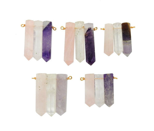 Points - Triple Amethyst Rose Quartz Crystal Quartz Pencil Point Pendant With Gold Plated Wire Bails