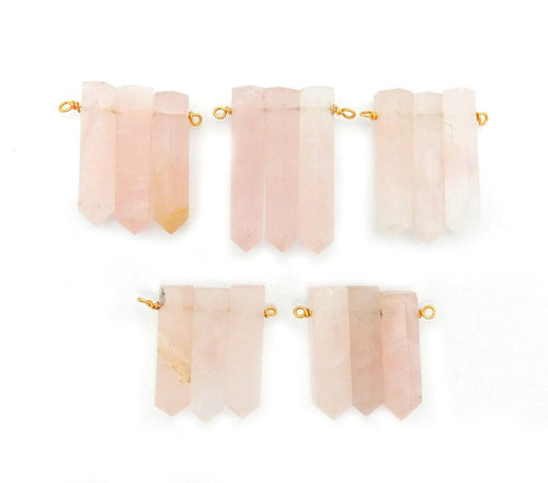 Points - Triple Rose Quartz Pencil Point Pendant With Gold Plated Wire Bails